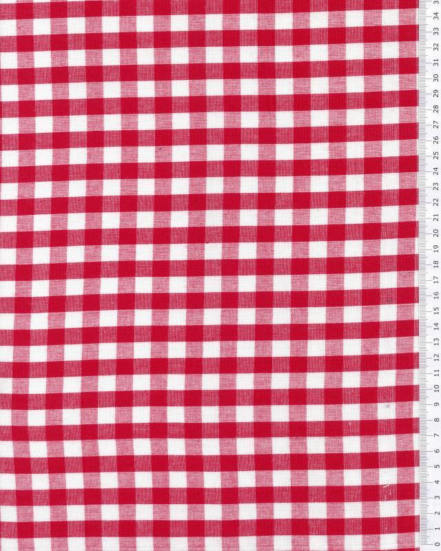 Coton Vichy grands carreaux Rouge - Tissushop