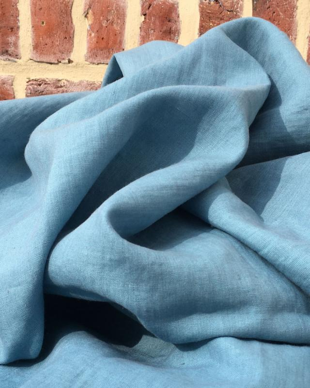 Washed linen fabric in 300 cm Blue Jeans - Tissushop