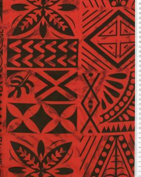 Tissu Polynésien METANI Rouge - Tissushop