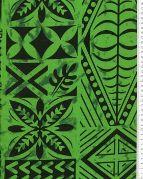 Tissu Polynésien METANI Vert - Tissushop