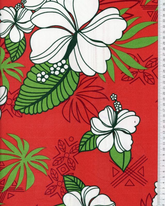 Polynesian Fabric RAHERA Red - Tissushop