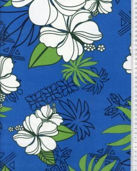 Tissu Polynésien RAHERA Bleu Turquoise - Tissushop