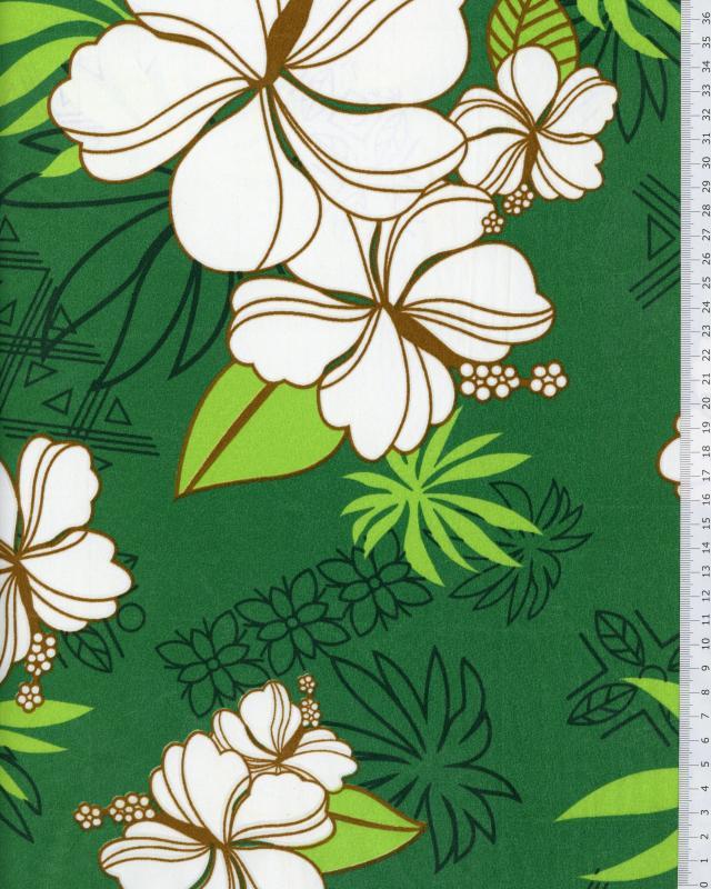 Tissu Polynésien RAHERA Vert - Tissushop