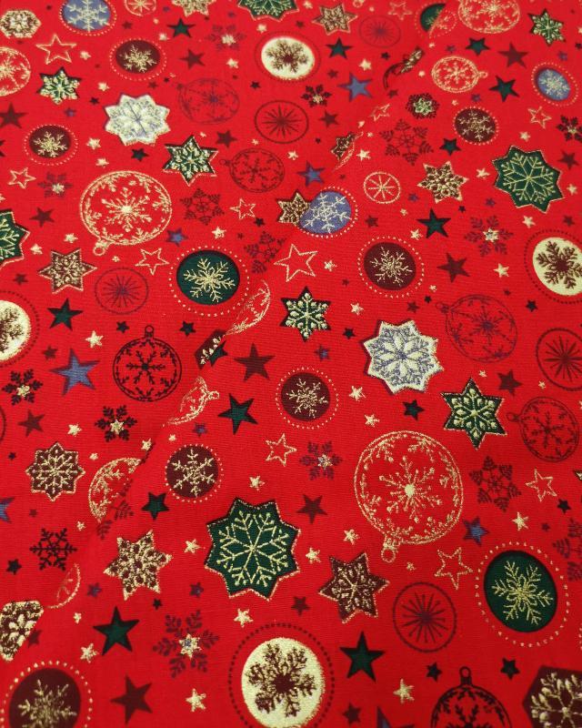Coton imprimé étoiles et boules de noel Rouge - Tissushop