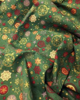 Cotton printed stars and Christmas balls Green - Tissushop