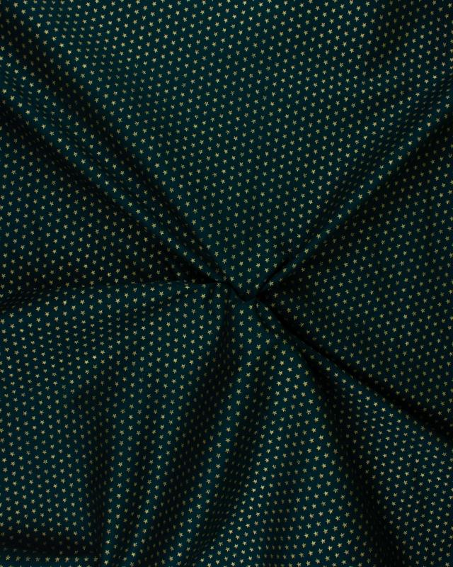 Christmas cotton little golden stars Green - Tissushop