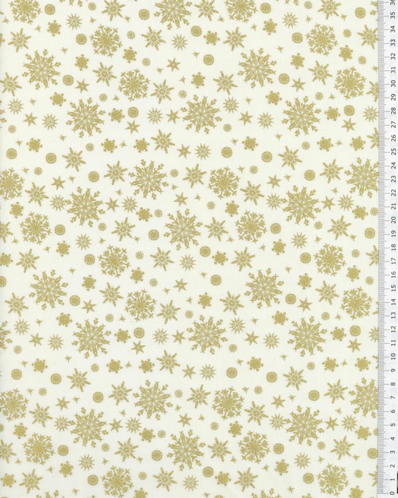 Coton imprimé flocons Blanc - Tissushop
