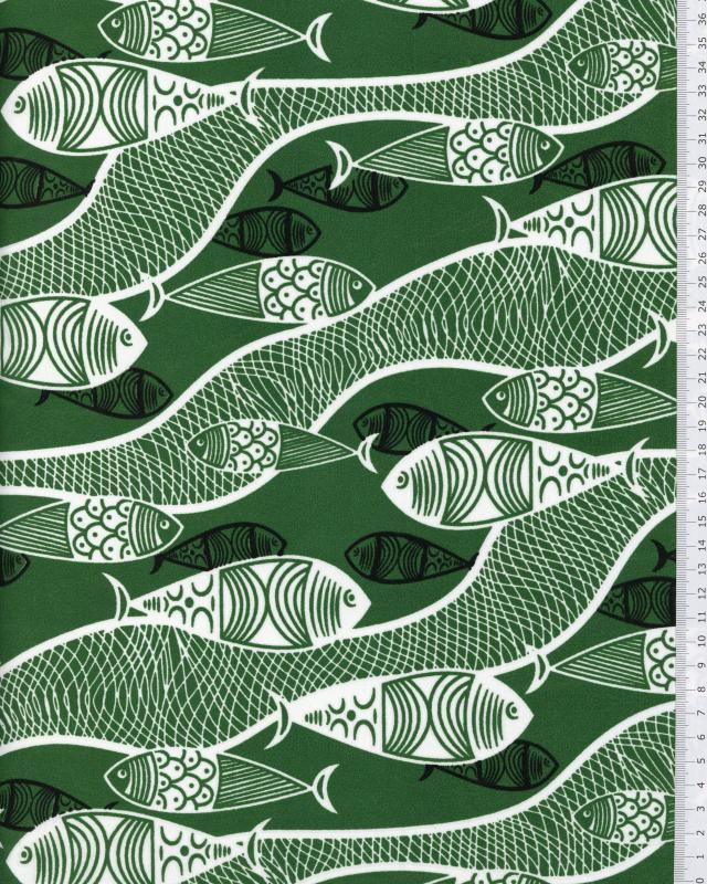 Tissu Polynésien MAUNU Vert - Tissushop