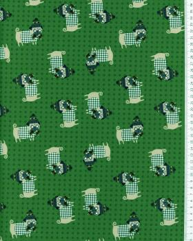 Cotton Popelin Dog Green - Tissushop
