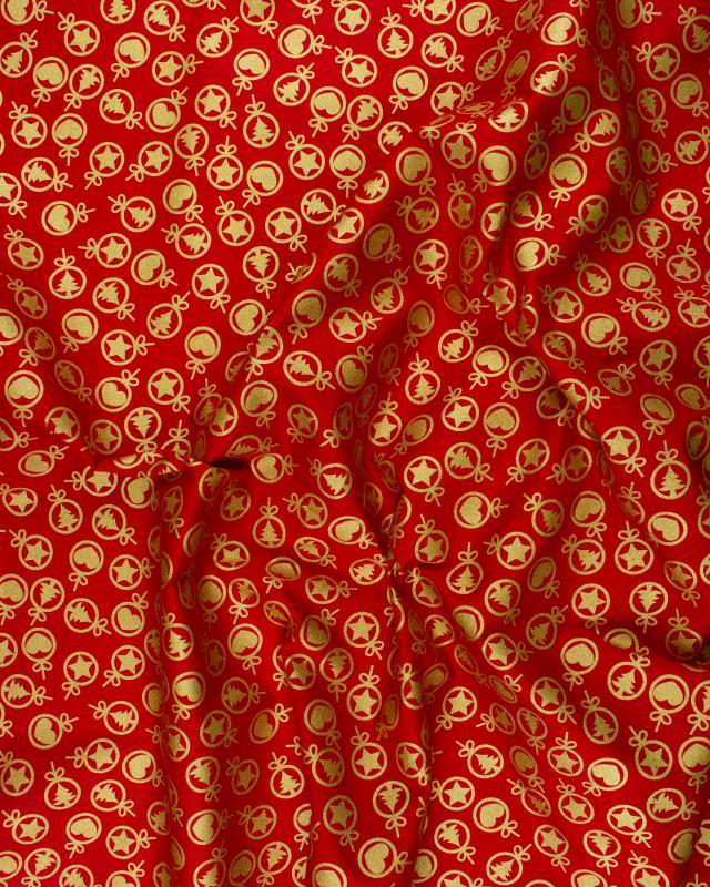 Christmas Printed cotton heart and fir Red - Tissushop