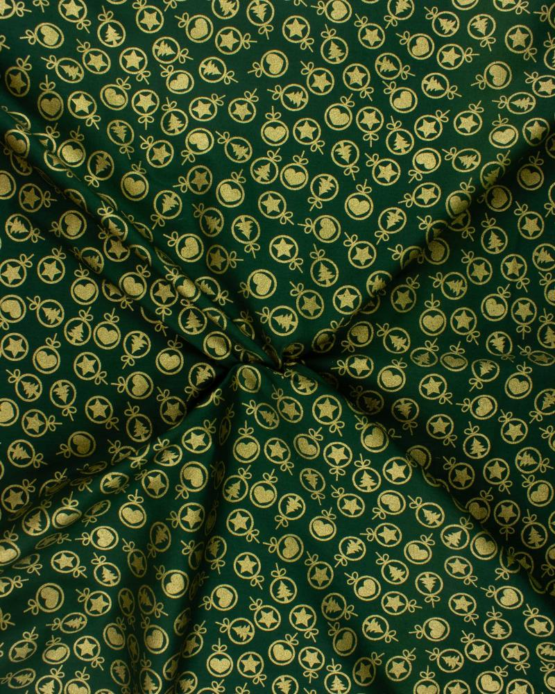 Christmas Printed cotton heart and fir Green - Tissushop