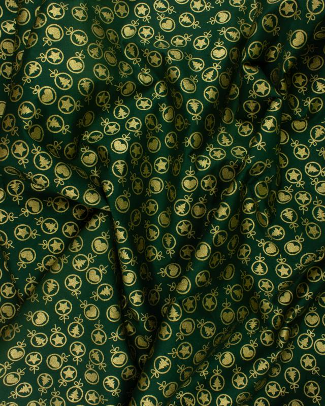 Coton imprimé noël coeur et sapin Vert - Tissushop