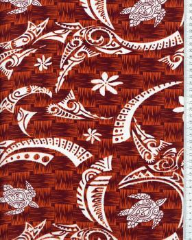 Tissu Polynésien VATEA Rouge - Tissushop