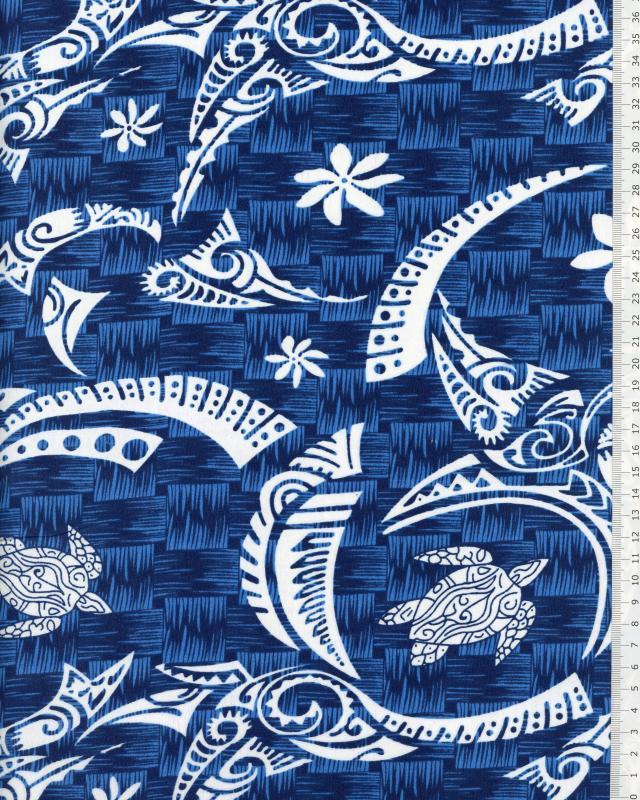 Tissu Polynésien VATEA Bleu - Tissushop