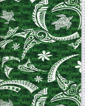 Tissu Polynésien VATEA Vert - Tissushop