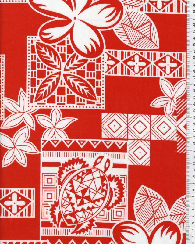 Tissu Polynésien HEIVA Rouge - Tissushop