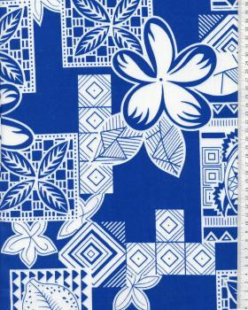 Tissu Polynésien HEIVA Bleu - Tissushop