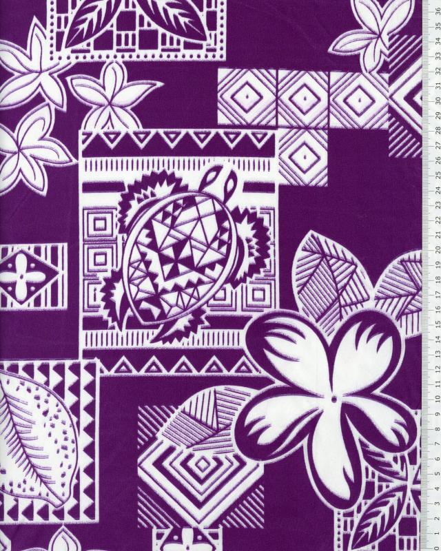 Tissu Polynésien HEIVA Violet - Tissushop
