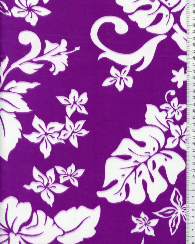 Tissu Polynésien TIMERI Violet - Tissushop