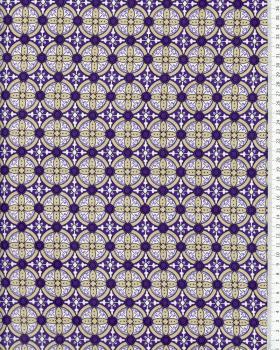 Crêpe motif rond Violet - Tissushop