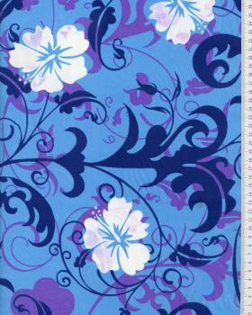Tissu Polynésien REVA Bleu - Tissushop