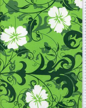 Tissu Polynésien REVA Vert - Tissushop