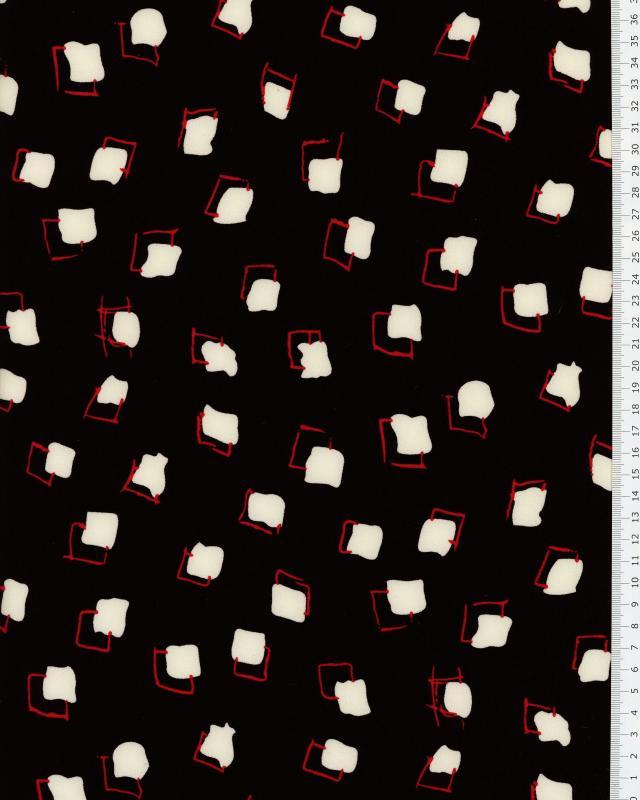 Crepe imprimé carré Noir - Tissushop