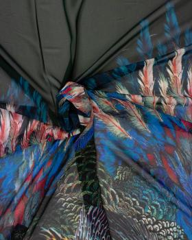 chiffon feather print - background Green - Tissushop
