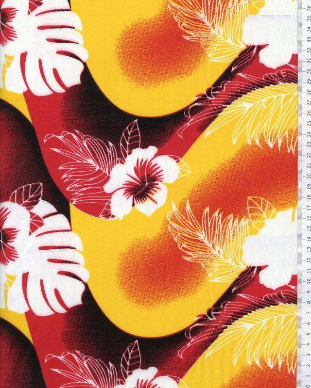 Tissu Polynésien POERANI Rouge - Tissushop