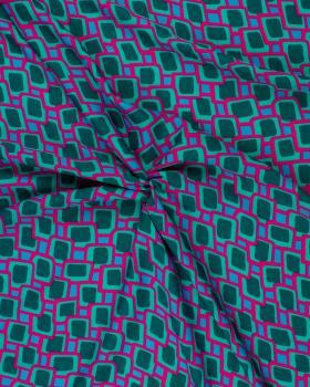 Polyester imprimé carré vert Fuchsia - Tissushop