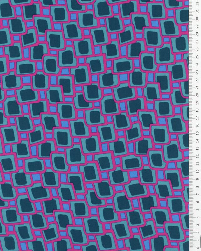 Square printed polyester green Fuchsia - Tissushop