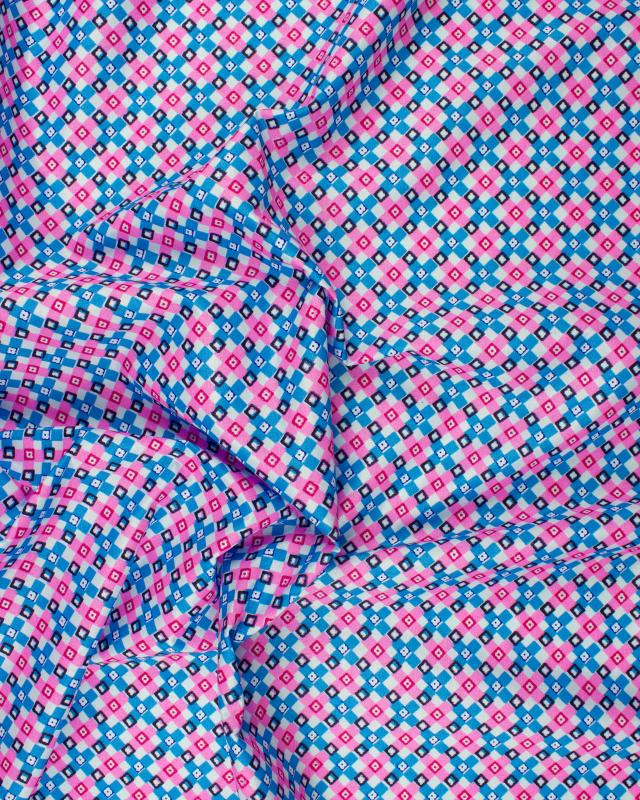Pink square printed polyester Blue - Tissushop