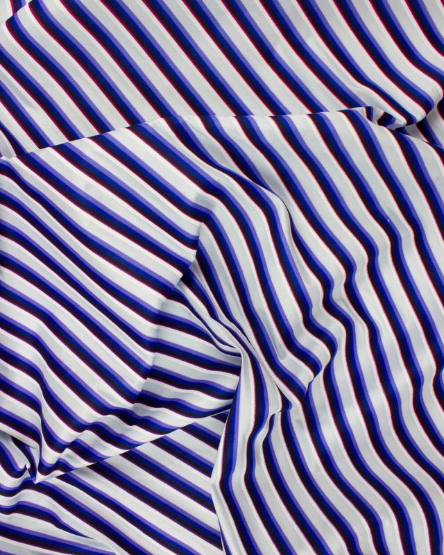 Polyester printed stripes purple Blue - Tissushop