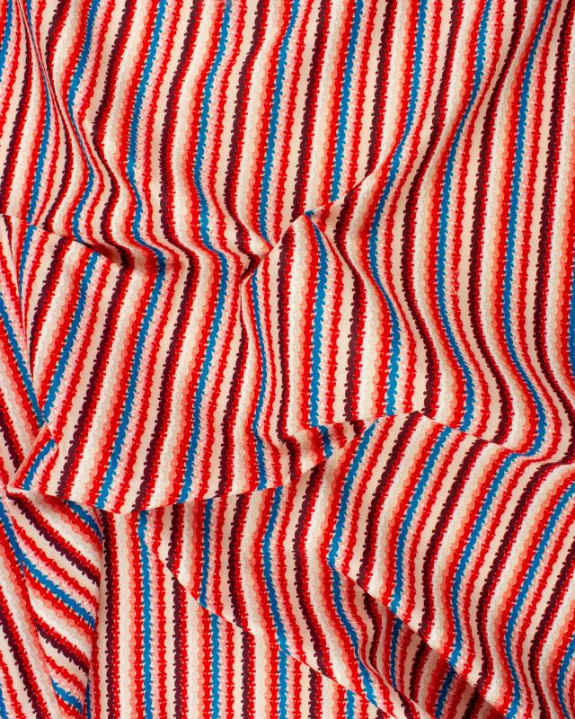 Printed polyester stripes blue pink Red - Tissushop