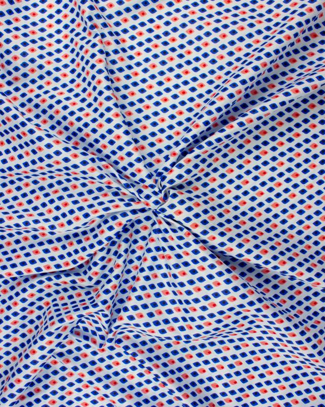 Polyester imprimé losanges bleu Rouge - Tissushop