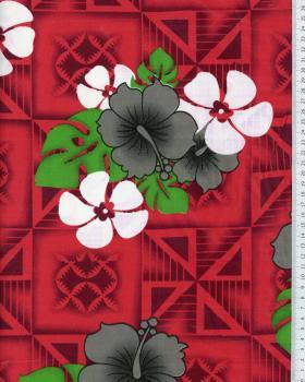 Tissu Polynésien NAURI Rouge - Tissushop