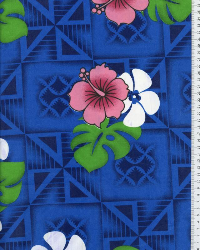 Tissu Polynésien NAURI Bleu - Tissushop