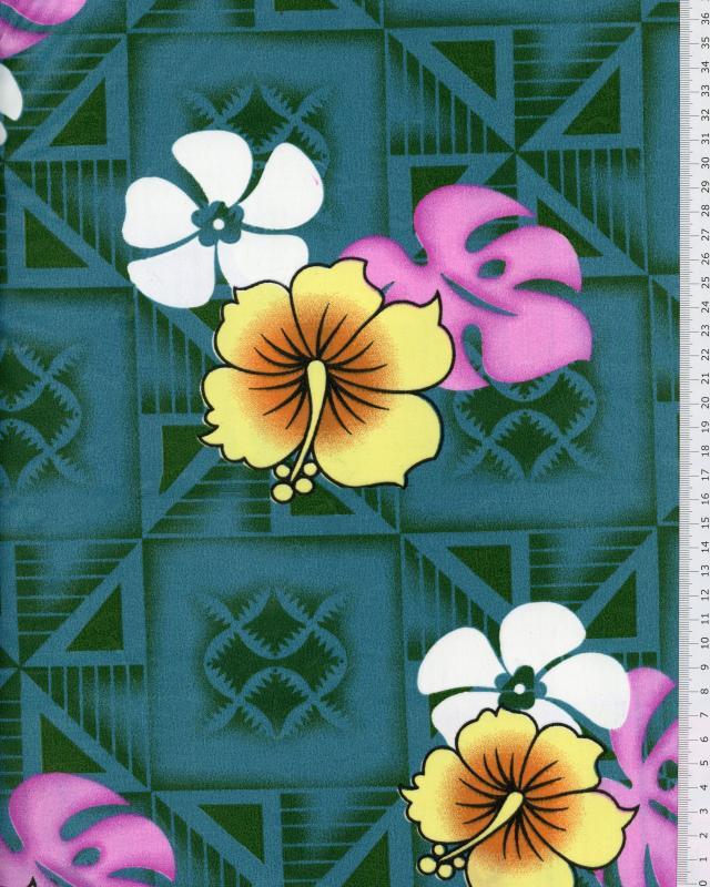 Tissu Polynésien NAURI Vert - Tissushop