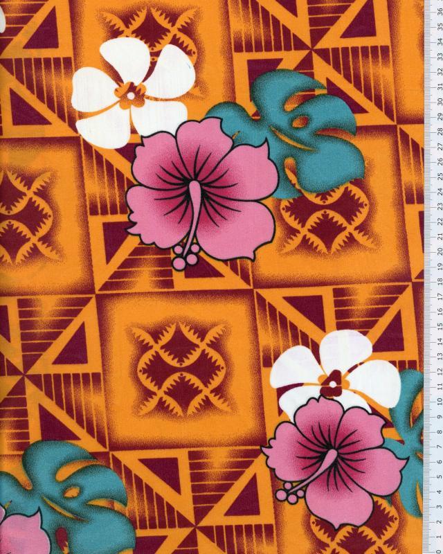 Tissu Polynésien NAURI Orange - Tissushop