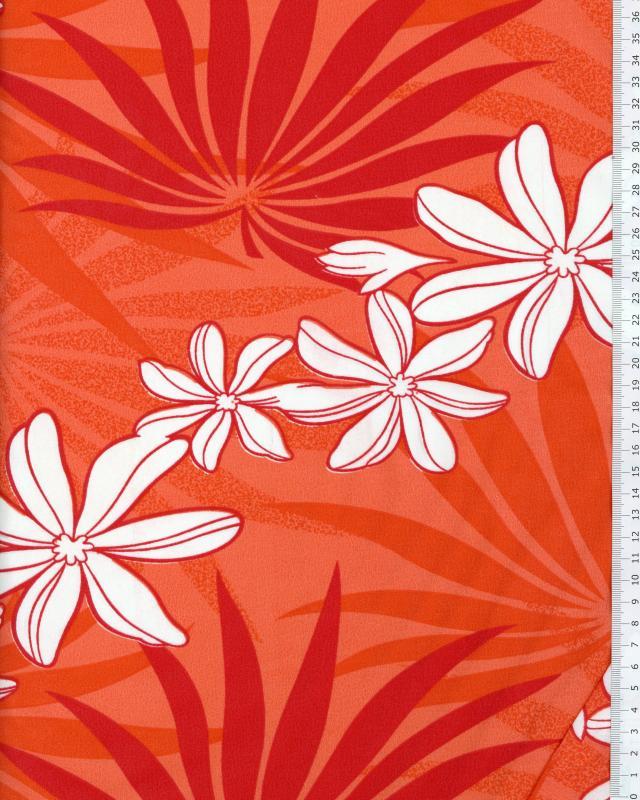 Tissu Polynésien MOENAU Rouge - Tissushop