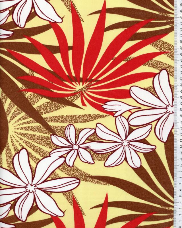 Tissu Polynésien MOENAU Jaune - Tissushop