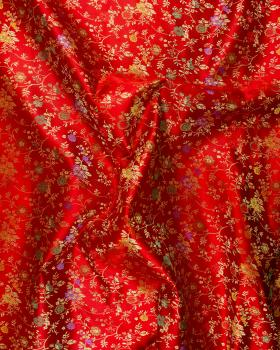 Satin jacquard flowers on Red - Tissushop