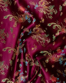 Satin jacquard dragon Bordeaux - Tissushop
