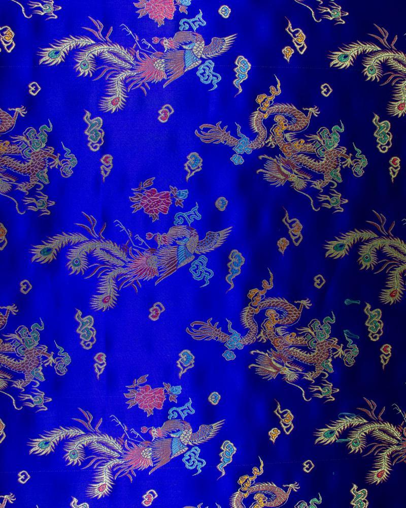 Satin jacquard dragon Bleu - Tissushop