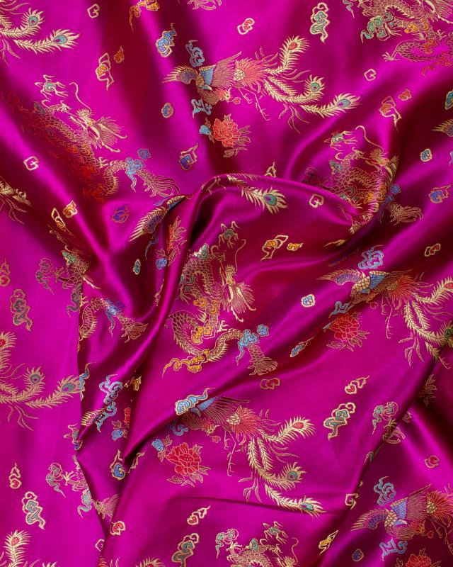 Satin jacquard dragon Fuchsia - Tissushop