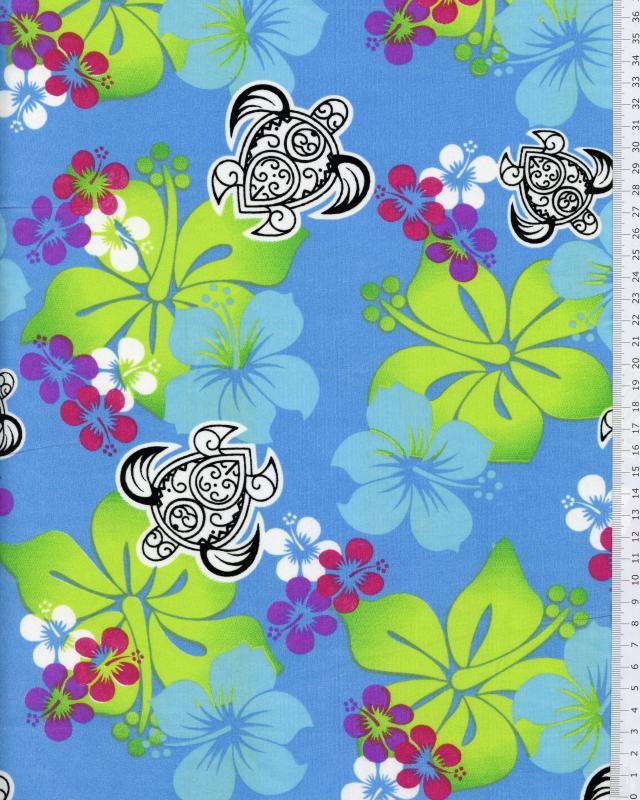 Polynesian Fabric HONU EREERE Turquoise Blue - Tissushop