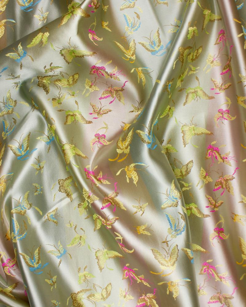Satin jacquard papillons Champagne - Tissushop