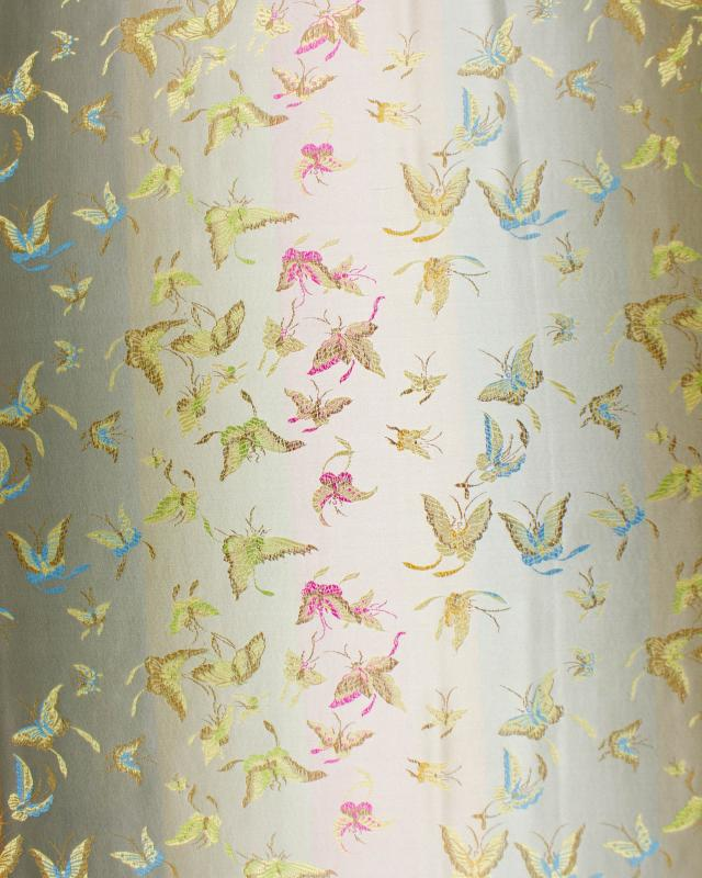 Satin jacquard butterflies Champagne - Tissushop