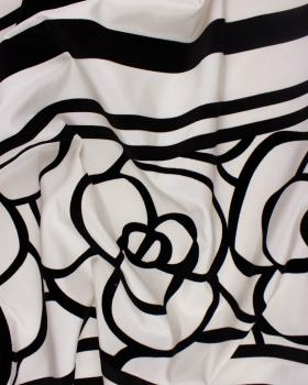 Black flower fabric on background White - Tissushop