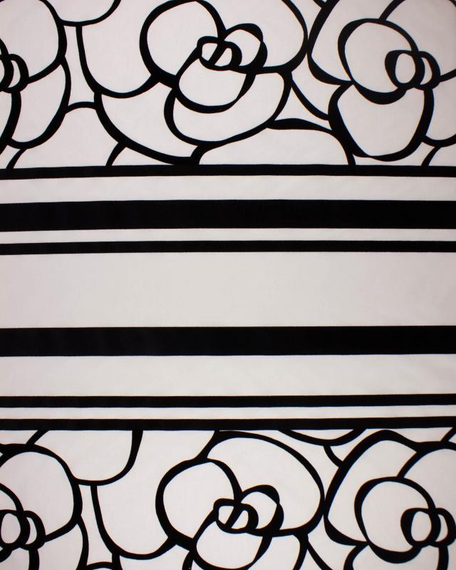 Black flower fabric on background White - Tissushop